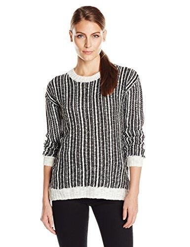 Allison Brittney Womens Crew Neck 2 Color Novelty Textured Stitch Pullover Sweater, Black/Cream, Medium