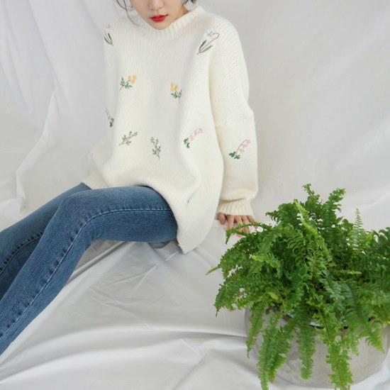 デイリー・マンデーFloral needlepoint knitニートsrcLangTypeko ニット/セーター/ニット/韓国ファッション