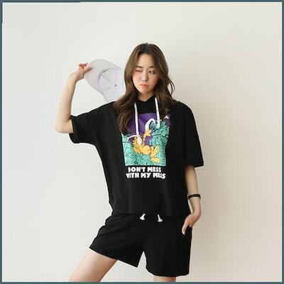 [ピンクシスレー][ピンクシスレー]SET/ガーフィールドフード半ズボンのセット(ブラック) /スウェットパンツセット/ スウェットパンツ/韓国ファッシム
