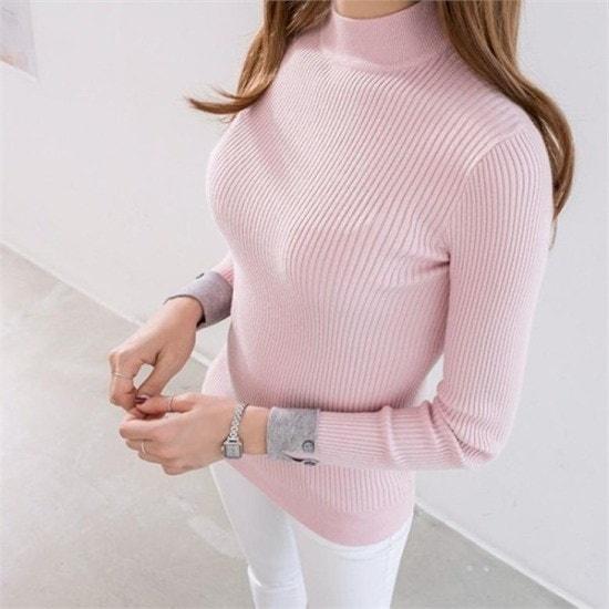 ピピン行き来するようにピピンプレホース反目小売配色ニット104373 ニット/セーター/タートルネック/ポーラーニット/韓国ファッション