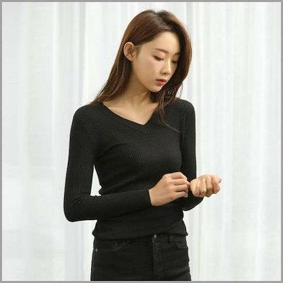 [ナイン][ナイン]シンプルラインブイネクニート(T-4594) /ニット/セーター/ニット/韓国ファッション