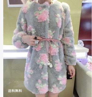 ファーコート レディース 毛皮コート ウサギの毛皮 ロッグコート 花柄 フェイクファー 高級 おしゃれ 上着 暖かい 秋冬 防寒 お洒落