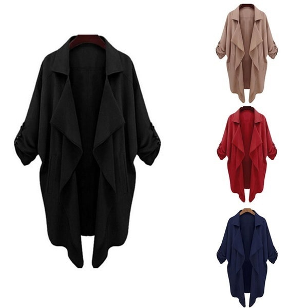 4 Colors Female Lapel Long Sleeve Cardigan Outwear Women Loose Pockets Irregular OL Jacket