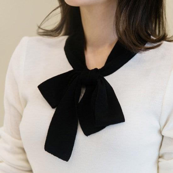 ココアベニューココアベニューリボン配色ニット60203 ニット/セーター/ニット/韓国ファッション