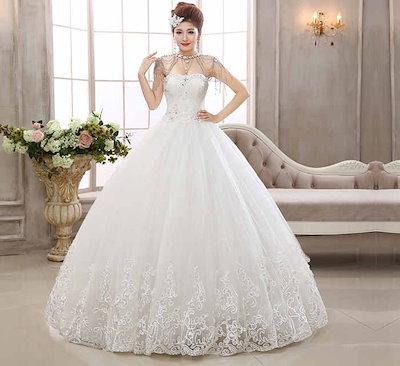 ウェディングドレス ビスチェ 水晶 刺繍 花嫁礼服 ベアトップ クラシック 韓国風 XCMS18