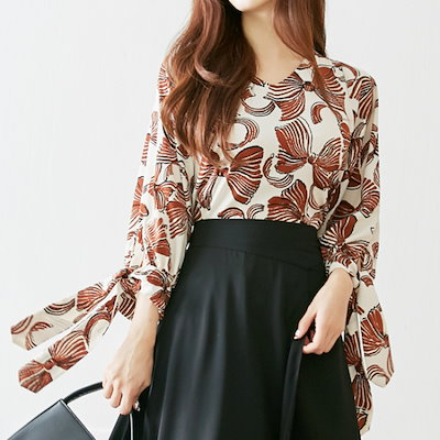 イニクモントゥサンリボンBLOUSEブラウス プリントシャツ/ブラウス/ 韓国ファッション