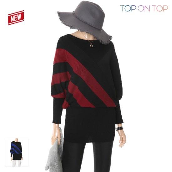 タプオンタプタプオンタプベントゥルサソンラインニートTP1748001 ロングニット/ルーズフィット/セーター/韓国ファッション