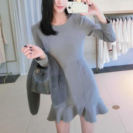 Soft suede ruffle line dress Korean fashion style