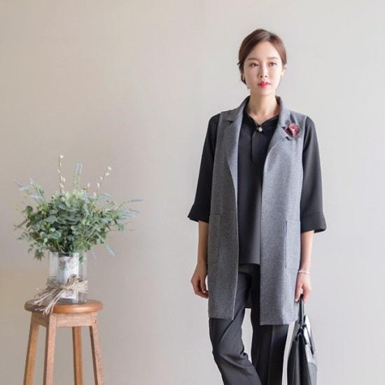 マダム4060ママの服ポケットカラーロングチョッキXVE708002 ベセチュウ / ニット・ベスト/ 韓国ファッション