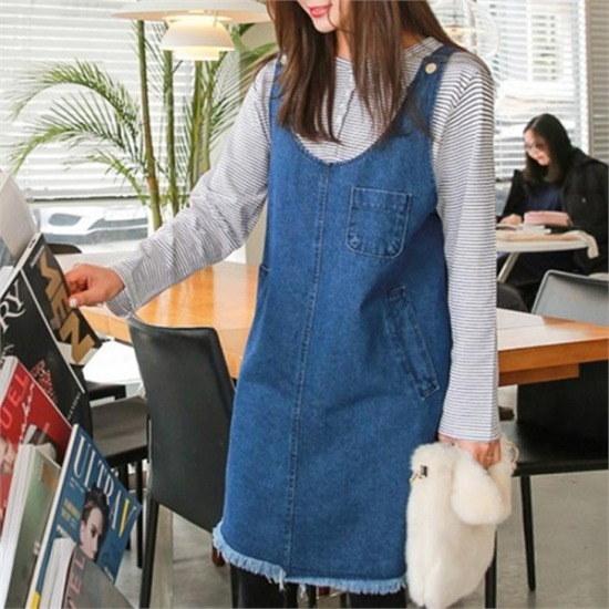 [ジェイスタイル] [行き来/ジェイスタイル]ビッグサイズ/ジェイスタイルに合わせデニムワンピース 綿ワンピース/ 韓国ファッション