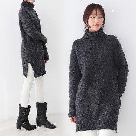 [デイリーアンド]ステラ首ポーラニット魅力的なハチ編みの厚み暖かいロングニット