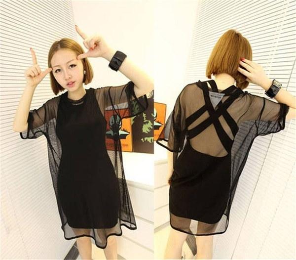 セクシーなブラックメッシュショートスリーブクールオーバーサイズシャツカバートップブラウス(サイズ:ワンサイズ、コロ