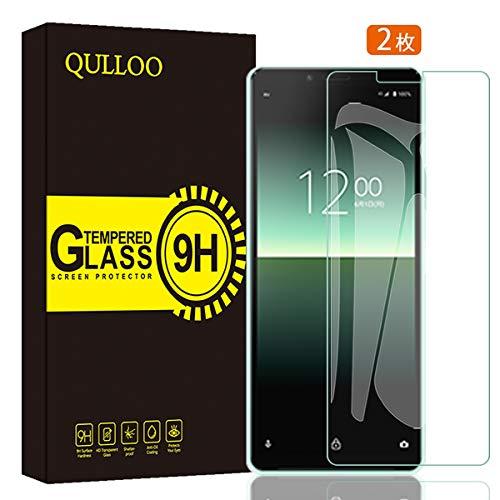 【2枚】QULLOO Sony Xperia 10 II docomo SO-41A / au SOV43 ガラスフィルム 強化ガラス 日本旭硝子素材 全面保護 硬度9H 飛散防止 指紋防止
