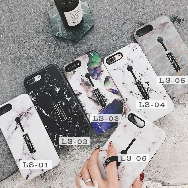 人気 韓国風 iPhone8plus/7 plus iPhone8/7 用大理石柄MarblingTPU保護カバー/マーブルストーン 個性 隠れるリングソフトケース/スタンド機能 管理番号:I018