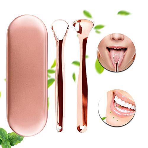 舌ブラシセット舌ブラシ舌クレンザーには、旅行の便利なボックスが含まれており、健康な口腔ケアや大人の子供に適しており、使いやすく、口臭に抵抗します。ステンレス鋼 (Golden)Golden