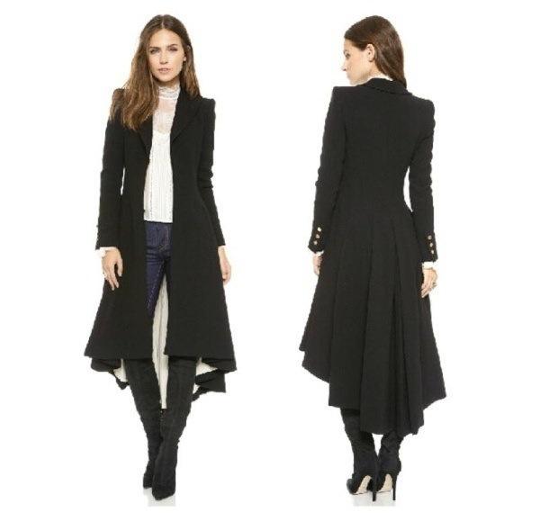 Autumn Winter Brand Wraceful Woolen Overcoat Women fashion long black trench  british style tuxedo m