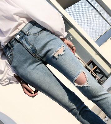 パンツ 九分丈 デニム クラッシュデニム 裾切りっぱなし カジュアル ブルー AM-27