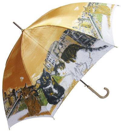 Manhattaner`s 日本製雨傘(長傘) ポンテ・ベッキオ橋と猫友たち オレンジ KM-83L
