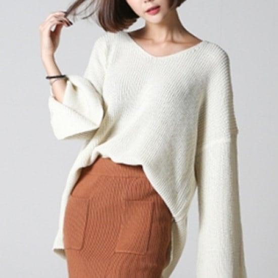 三女子モール三女子モール小売切開ニットシャツGHS10698 ニット/セーター/ニット/韓国ファッション
