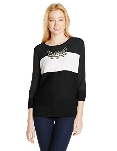XOXO Juniors Colorblock Embellished Neck Pullover Sweater, Black, Large