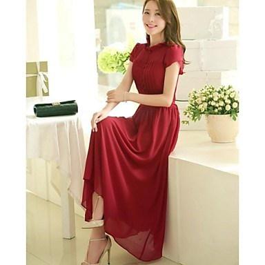 女性のボヘミアンスタイルは襟シフォンドレススタンド