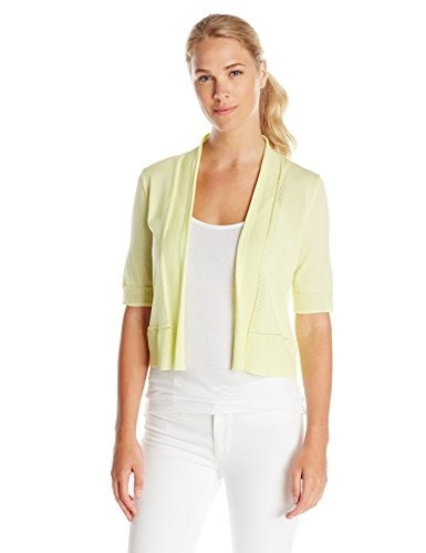 Jones New York Womens Elbow Sleeve Shrug Sweater, Celadon, Large