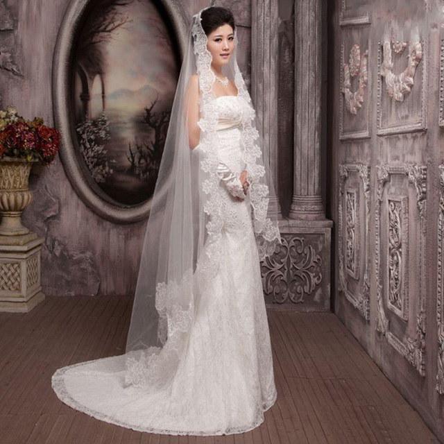 ブライダルチュールトレンディエレガントエンジェルベールファッションのための1pcs 3Metersロングホワイトチュールレース大聖堂ウェディングドレス