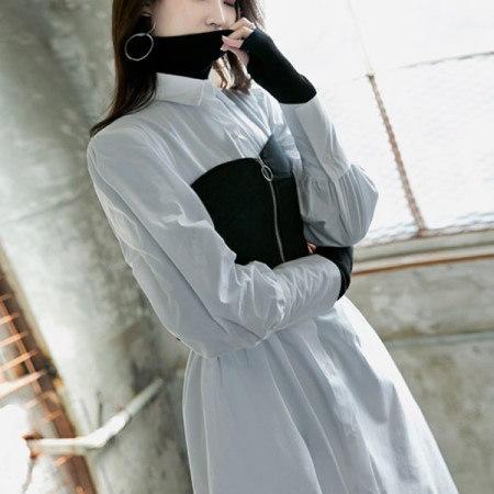 [ディントゥ] E-4231のソフトタートルスリムニットトップ/ブラックkorea fashion style