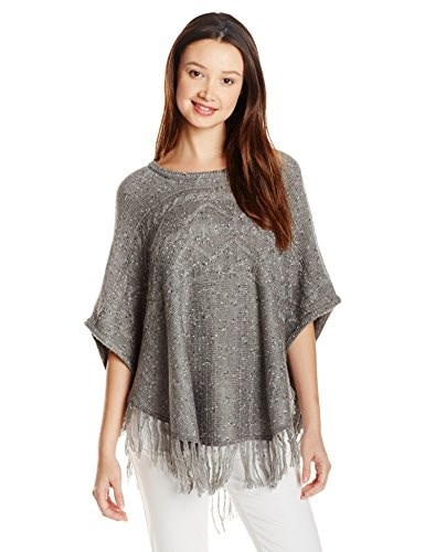 My Michelle Juniors Cable Knit Poncho Sweater with Fringe, Gray/Gray, X-Large