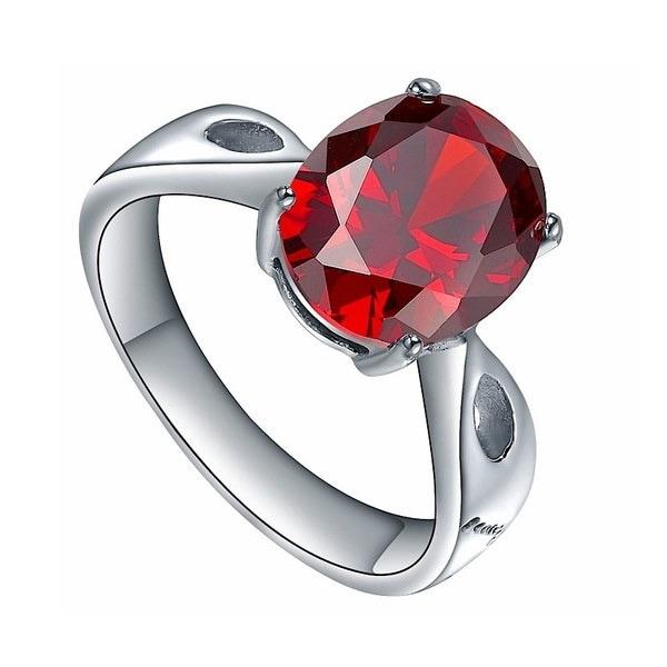ステンレス鋼オーバルレッドオレンジキュービックジルコニアソリティアレディスエンゲージメント結婚指輪