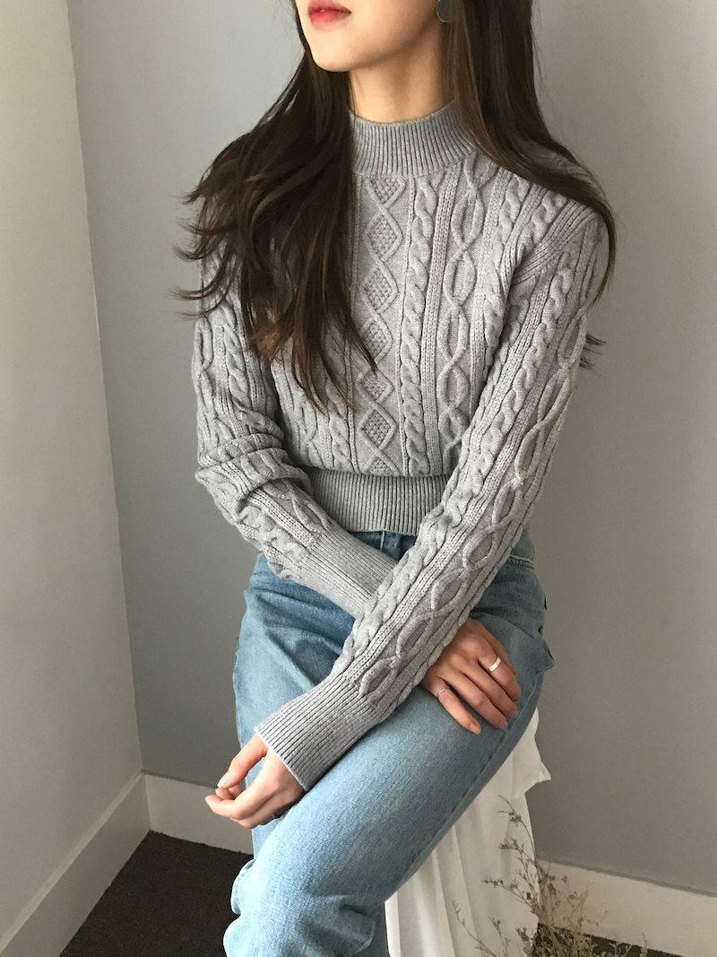 リットンデイリープレッツェルスリムフィットニットkorea fashion style