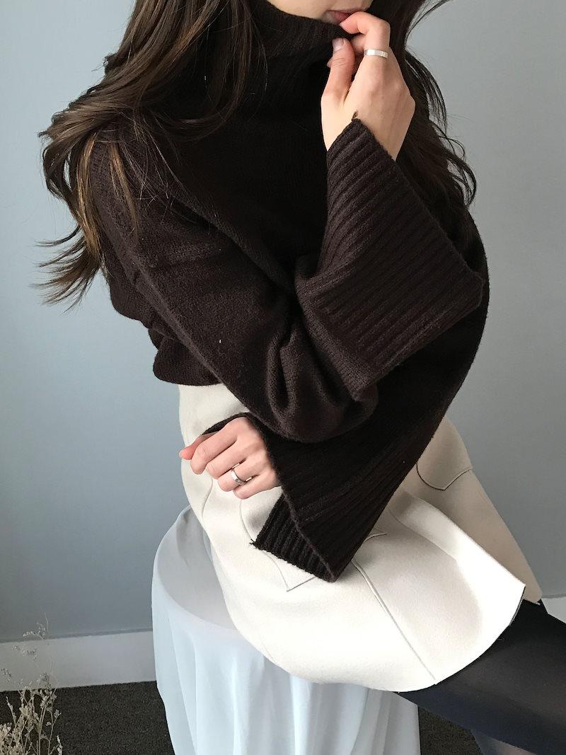 マティーニハイネックスリットニットkorea fashion style