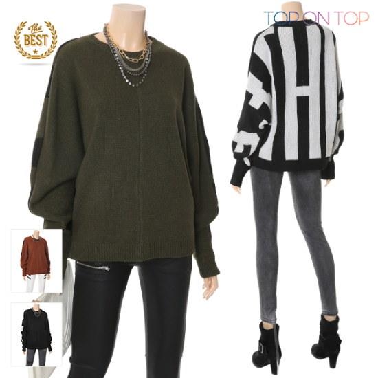 タプオンタプタプオンタプベクレト香織ニートTP1738048 ロングニット/ルーズフィット/セーター/韓国ファッション
