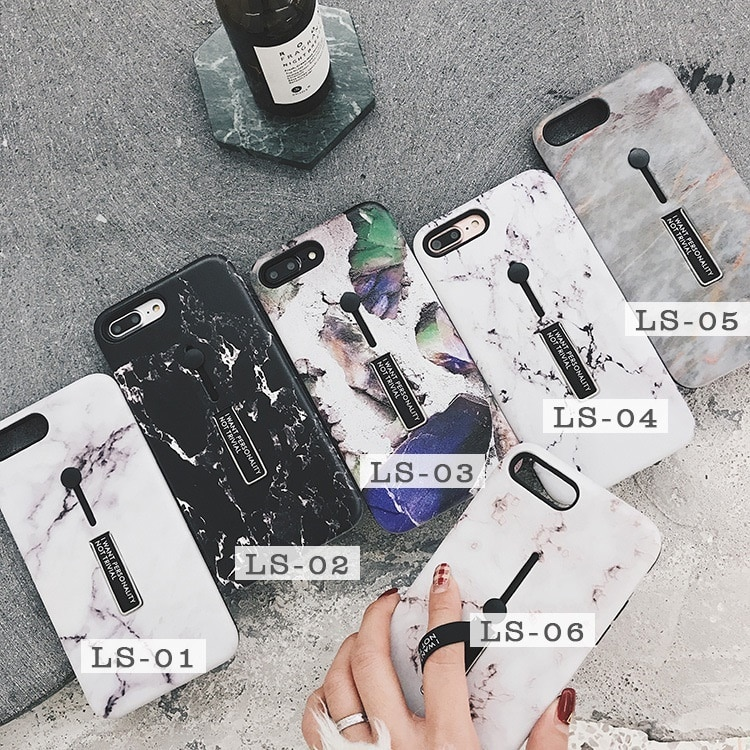 人気 韓国風 iPhoneX/iPhoneX用大理石柄MarblingTPU保護カバー/マーブルストーン 個性 隠れるリングソフトケース/スタンド機能 男女性通用 シンプル おしゃれ I021