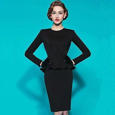 女性のヴィンテージセータースリム弾性ドレス