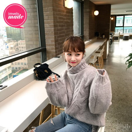 【Imvely]ウールプレッツェルタートルネックニットkorean fashion style