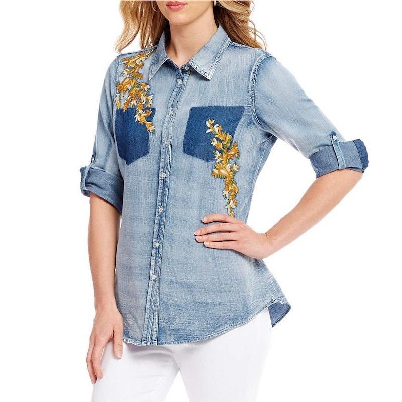 レバ レディース トップス ブラウス・シャツ【Reba Floral Embroidered Denim Shirt】Chambray