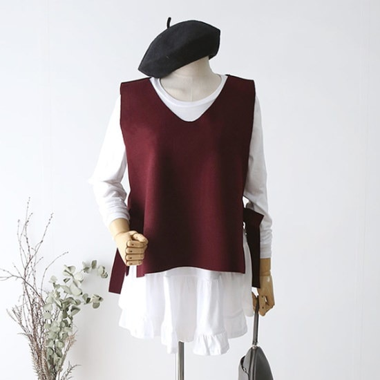 ドレス飛ぶリボン開けたことブイネク・ニットベスト ベセチュウ / ニット・ベスト/ 韓国ファッション