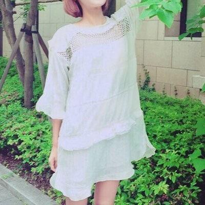 【K-POPファッション通販】【高クオリティー】【送料無料】少女時代スヨンファッションスタイル!ラブリーなラッフルレースがラブリーなドレスワンピース(ML)/SNSD ST.RUFFLE LACE DRESS
