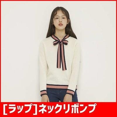 [ラップ]ネックリボンプルオーバー(AH4KHA69) / ニット/セーター/ニット/韓国ファッション