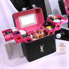 4color!メイクボックス コスメボックス 鏡付き 雑貨 小物入れ 持ち運び可 ネイル プロ 美容 大容量 アクセサリー 収納 化粧品 ジュエリーボックス