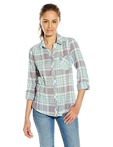 My Michelle Juniors Plaid Button Up Top with Convertible Sleeve and Split Pocket, Mint, Medium