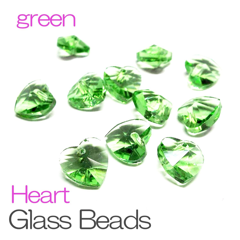 クリスタルガラス ビーズ ハート型 一つ穴 グリーン 5個セット 《STONE KITCHEN 天然石 パワーストーン》
