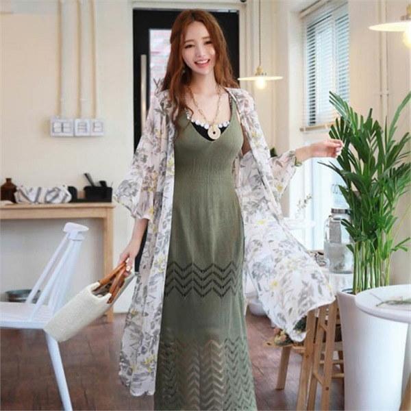 スタイルオンミイエローリーフフラワーシフォン・ローブnew 女性ニット/カーディガン/韓国ファッション