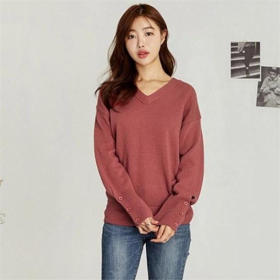 るみさん行き来するようにるみさんるみさん・スリーブボタンブイウール・ニット ニット/セーター/ニット/韓国ファッション
