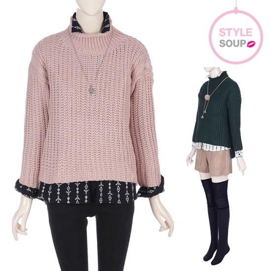 森SOUPstyle soupサイドポイントハイネックのゴルジプルオーバーSSBLKE2 ニット/セーター/ニット/韓国ファッション