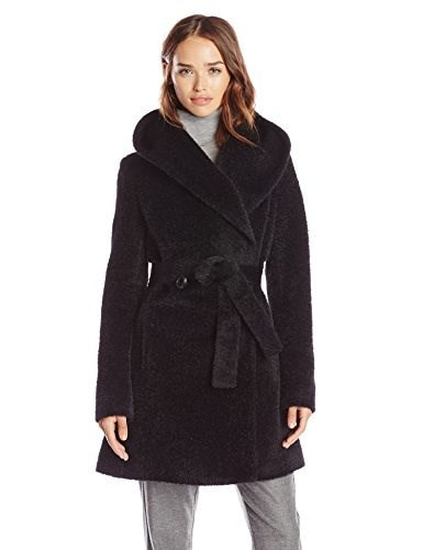Trina Turk Womens Grace Wool Belted Wrap Coat, Black, 14
