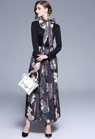 韓国ファッション 韓国 ワンピース ワンピースドレス ロングワンピース 黒 パーティードレス 結婚式 フォーマル 大きいサイズ お呼ばれ マタニティ 20代 30代 レディース マキシ ロング ボウタ