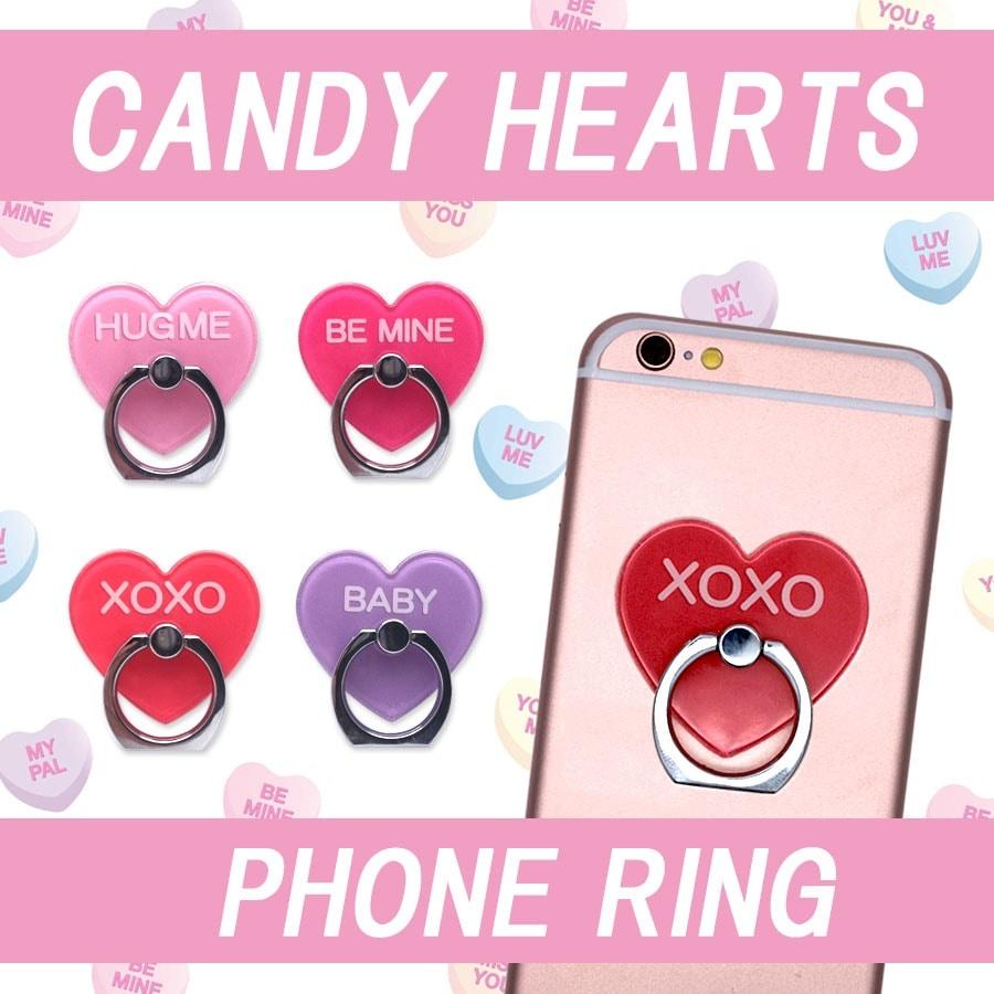 【MERRYGADGET】candyhearts スマホリング (4color)ハート型 スマートフォン タブレット PC用 リングスタンド 落下防止 スタンド スマホリング iPhone andro