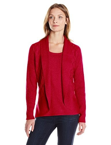 Sag Harbor Womens Pointelle Stitch Duet Sweater - Lurex, Regal Red, Small